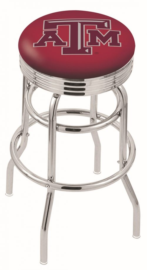 "Texas A & M Aggies (L7C3C) 25"" Tall Logo Bar Stool by Holland Bar Stool Company (with Double Ring Swivel Chrome Base)"