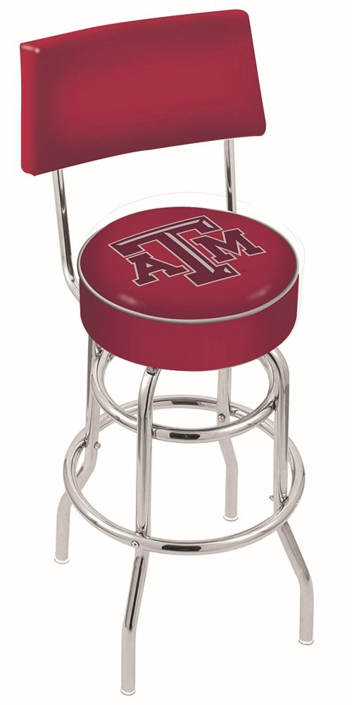 "Texas A & M Aggies (L7C4) 25"" Tall Logo Bar Stool by Holland Bar Stool Company (with Double Ring Swivel Chrome Base and Chair Seat Back)"