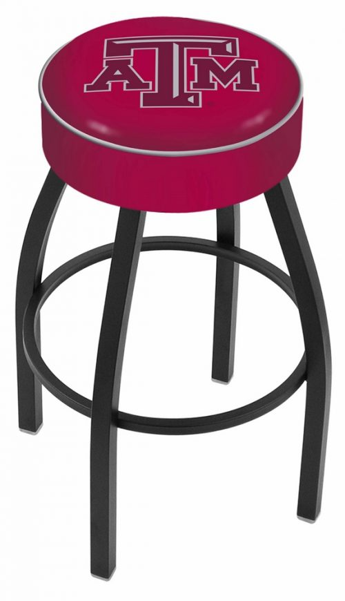 "Texas A & M Aggies (L8B1) 25"" Tall Logo Bar Stool by Holland Bar Stool Company (with Single Ring Swivel Black Solid Welded Base)"