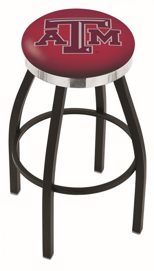 "Texas A & M Aggies (L8B2C) 25"" Tall Logo Bar Stool by Holland Bar Stool Company (with Single Ring Swivel Black Solid Welded Base)"