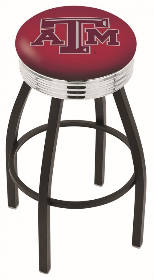 "Texas A & M Aggies (L8B3C) 25"" Tall Logo Bar Stool by Holland Bar Stool Company (with Single Ring Swivel Black Solid Welded Base)"