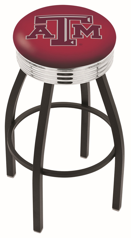 """Texas A & M Aggies (L8B3C) 25"""" Tall Logo Bar Stool by Holland Bar Stool Company (with Single Ring Swivel Black Solid Welded Base)"""