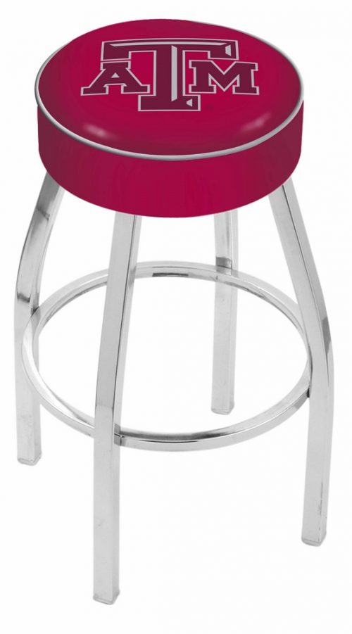 """Texas A & M Aggies (L8C1) 25"""" Tall Logo Bar Stool by Holland Bar Stool Company (with Single Ring Swivel Chrome Solid Welded Base)"""