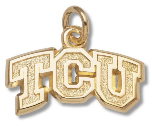 """Texas Christian Horned Frogs 3/8"""" """"TCU"""" Charm - 10KT Gold Jewelry"""