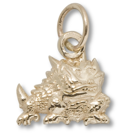 """Texas Christian Horned Frogs 7/16"""" Horned Frog Charm - 10KT Gold Jewelry"""
