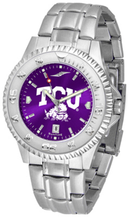 Texas Christian Horned Frogs Competitor AnoChrome Men's Watch with Steel Band