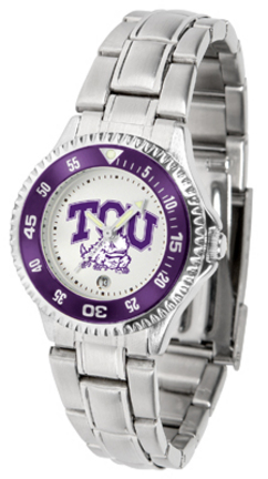 Texas Christian Horned Frogs Competitor Ladies Watch with Steel Band