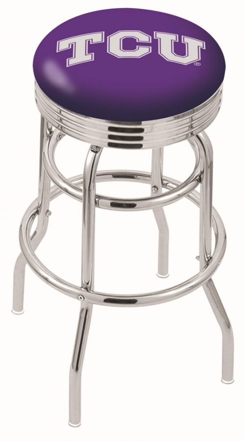 "Texas Christian Horned Frogs (L7C3C) 25"" Tall Logo Bar Stool by Holland Bar Stool Company (with Double Ring Swivel Chrome Base)"