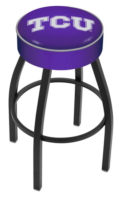 """Texas Christian Horned Frogs (L8B1) 25"""" Tall Logo Bar Stool by Holland Bar Stool Company (with Single Ring Swivel Black Solid Welded Base)"""