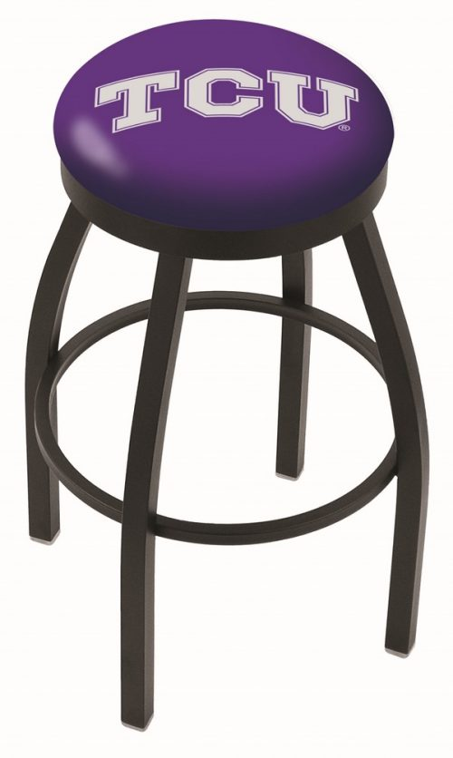"Texas Christian Horned Frogs (L8B2B) 30"" Tall Logo Bar Stool by Holland Bar Stool Company (with Single Ring Swivel Black Solid Welded Base)"