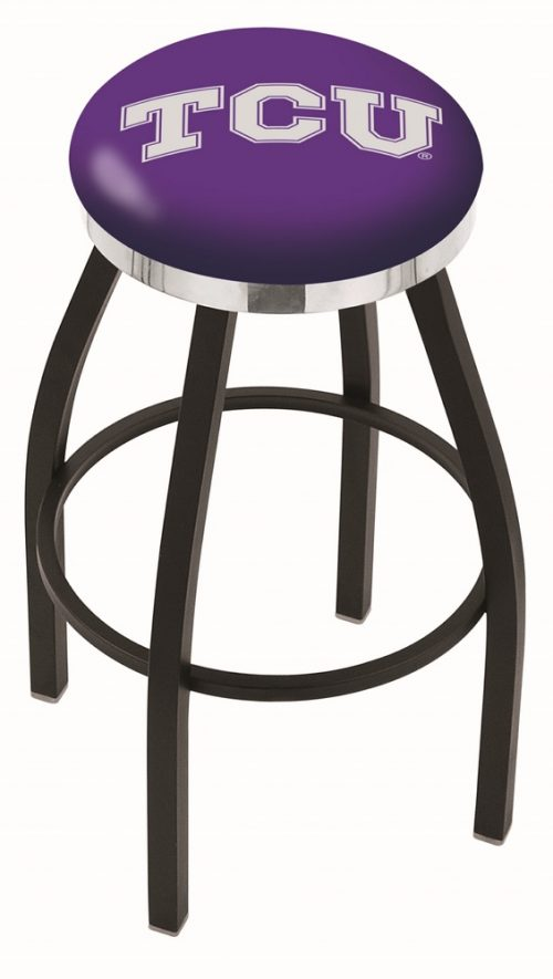 "Texas Christian Horned Frogs (L8B2C) 30"" Tall Logo Bar Stool by Holland Bar Stool Company (with Single Ring Swivel Black Solid Welded Base)"