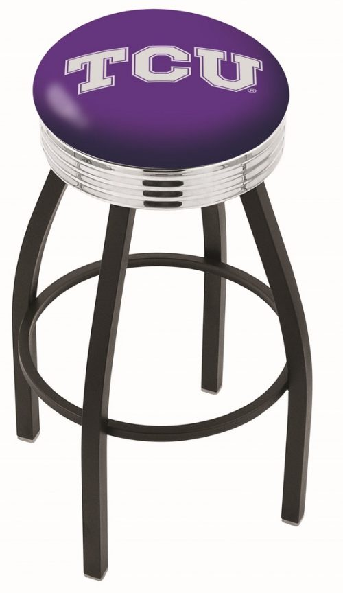 "Texas Christian Horned Frogs (L8B3C) 30"" Tall Logo Bar Stool by Holland Bar Stool Company (with Single Ring Swivel Black Solid Welded Base)"