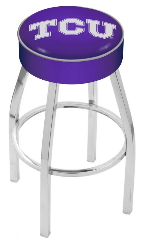 "Texas Christian Horned Frogs (L8C1) 25"" Tall Logo Bar Stool by Holland Bar Stool Company (with Single Ring Swivel Chrome Solid Welded Base)"