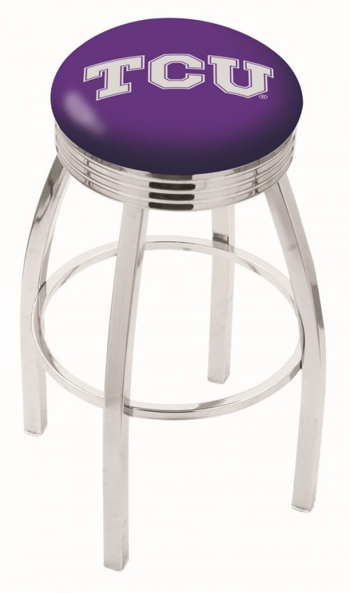 """Texas Christian Horned Frogs (L8C3C) 30"""" Tall Logo Bar Stool by Holland Bar Stool Company (with Single Ring Swivel Chrome Solid Welded Base)"""