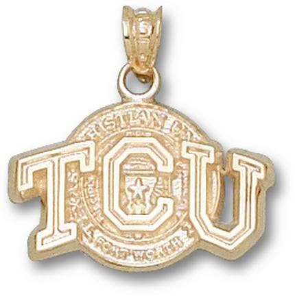 """Texas Christian Horned Frogs """"TCU with Seal"""" Pendant - 10KT Gold Jewelry"""