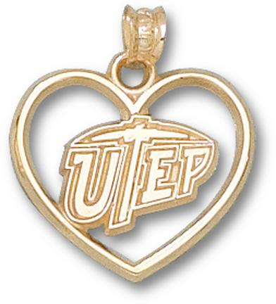 "Texas (El Paso) Miners ""UTEP and Heart"" Pendant - 10KT Gold Jewelry"