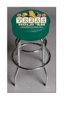 "Texas Hold Em"" (L7C1) 25"" Tall Logo Bar Stool by Holland Bar Stool Company (with Double Ring Swivel Chrome Base)"