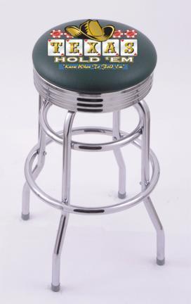 "Texas Hold Em"" (L7C3C) 25"" Tall Logo Bar Stool by Holland Bar Stool Company (with Double Ring Swivel Chrome Base)"