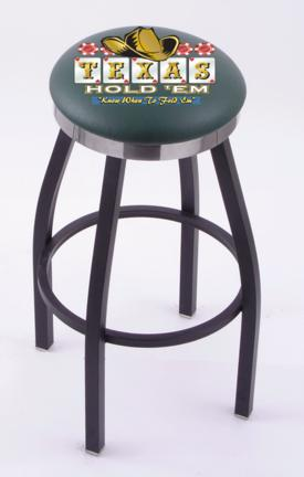 "Texas Hold Em"" (L8B2C) 25"" Tall Logo Bar Stool by Holland Bar Stool Company (with Single Ring Swivel Black Solid Welded Base)"