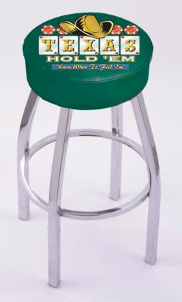 "Texas Hold Em"" (L8C1) 30"" Tall Logo Bar Stool by Holland Bar Stool Company (with Single Ring Swivel Chrome Solid Welded Base)"