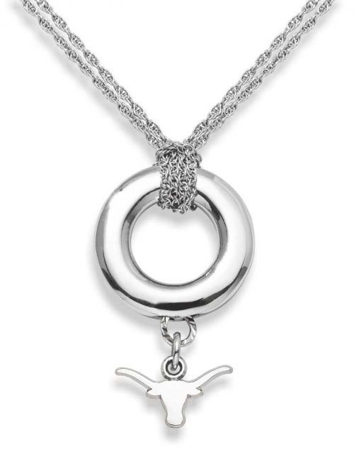 """Texas Longhorns 3/8"""" Logo Sterling Silver Halo Necklace"""