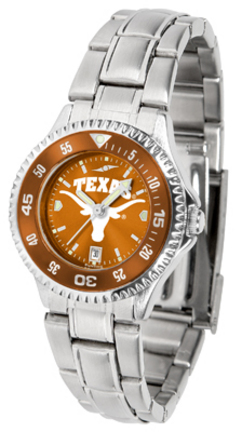 Texas Longhorns Competitor AnoChrome Ladies Watch with Steel Band and Colored Bezel