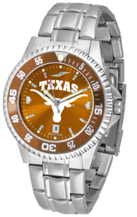 Texas Longhorns Competitor AnoChrome Men's Watch with Steel Band and Colored Bezel