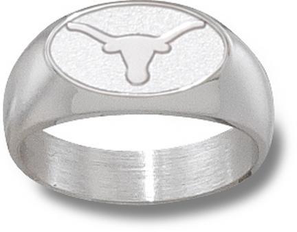 "Texas Longhorns Oval ""Longhorn"" 3/8"" Men's Ring - Sterling Silver Jewelry (Size 10 1/2)"