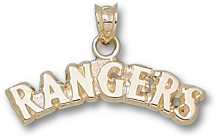 "Texas Rangers Arched ""Rangers"" 1/4"" Pendant - 10KT Gold Jewelry"