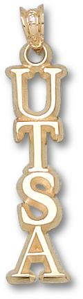 "Texas (San Antonio) Roadrunners Vertical ""UTSA"" Pendant - 10KT Gold Jewelry"