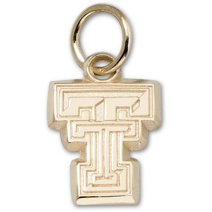 "Texas Tech Red Raiders 3/8"" New Bevel ""TT"" Charm - 14KT Gold Jewelry"