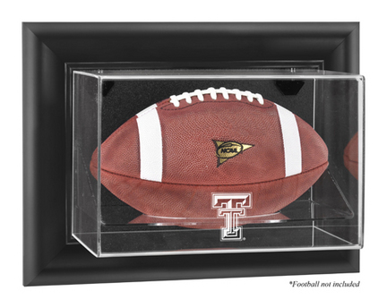 Texas Tech Red Raiders Black Framed Wall Mountable Logo Football Display Case