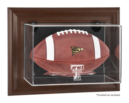 Texas Tech Red Raiders Brown Framed Wall Mountable Logo Football Display Case