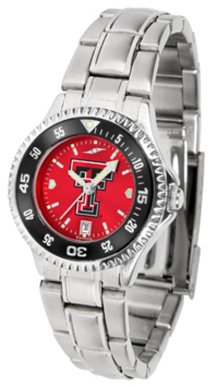Texas Tech Red Raiders Competitor AnoChrome Ladies Watch with Steel Band and Colored Bezel