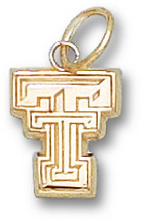 "Texas Tech Red Raiders Flat ""TT"" 3/8"" Charm - 14KT Gold Jewelry"