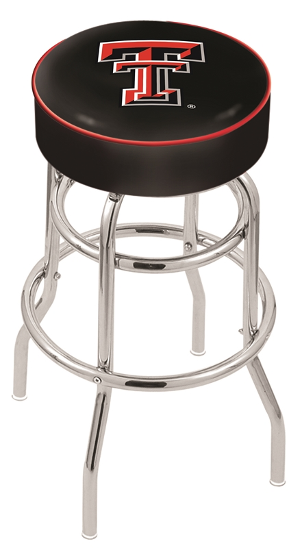"Texas Tech Red Raiders (L7C1) 25"" Tall Logo Bar Stool by Holland Bar Stool Company (with Double Ring Swivel Chrome Base)"