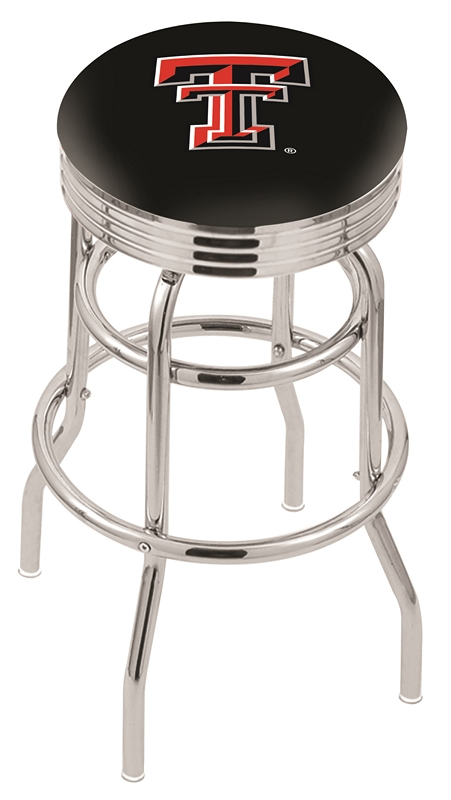 "Texas Tech Red Raiders (L7C3C) 25"" Tall Logo Bar Stool by Holland Bar Stool Company (with Double Ring Swivel Chrome Base)"