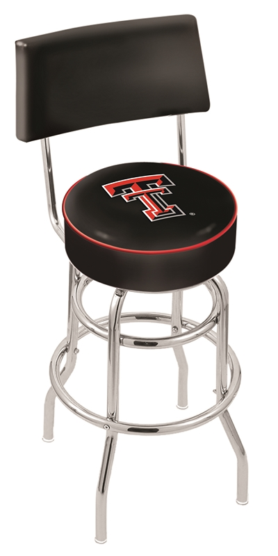 "Texas Tech Red Raiders (L7C4) 25"" Tall Logo Bar Stool by Holland Bar Stool Company (with Double Ring Swivel Chrome Base and Chair Seat Back)"