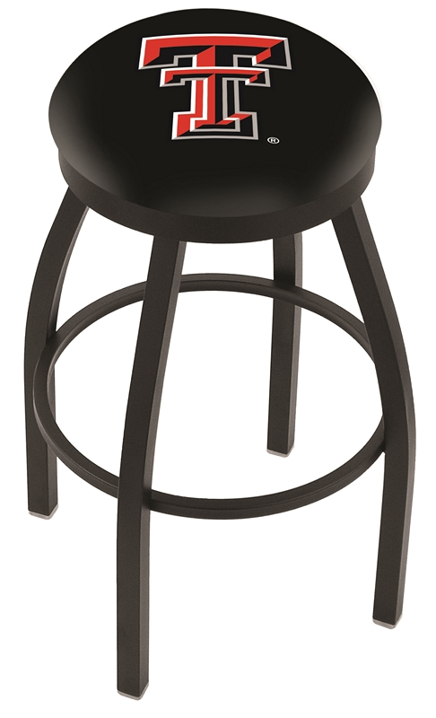 "Texas Tech Red Raiders (L8B2B) 25"" Tall Logo Bar Stool by Holland Bar Stool Company (with Single Ring Swivel Black Solid Welded Base)"