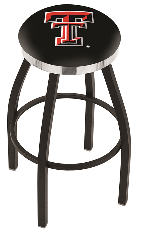 "Texas Tech Red Raiders (L8B2C) 25"" Tall Logo Bar Stool by Holland Bar Stool Company (with Single Ring Swivel Black Solid Welded Base)"