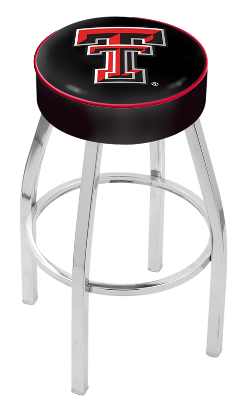 """Texas Tech Red Raiders (L8C1) 30"""" Tall Logo Bar Stool by Holland Bar Stool Company (with Single Ring Swivel Chrome Solid Welded Base)"""