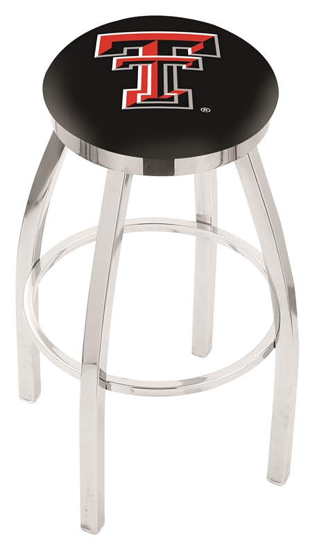 "Texas Tech Red Raiders (L8C2C) 30"" Tall Logo Bar Stool by Holland Bar Stool Company (with Single Ring Swivel Chrome Solid Welded Base)"