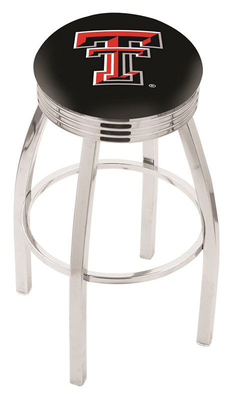 """Texas Tech Red Raiders (L8C3C) 25"""" Tall Logo Bar Stool by Holland Bar Stool Company (with Single Ring Swivel Chrome Solid Welded Base)"""