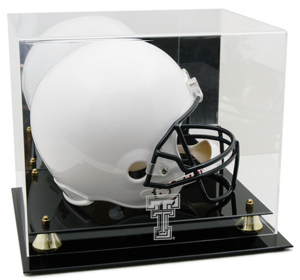 Texas Tech Red Raiders Logo Golden Classic Full Size Helmet Display Case