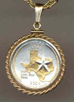 "Texas Two Tone Rope Bezel Statehood Quarter with 18"" Rope Necklace"