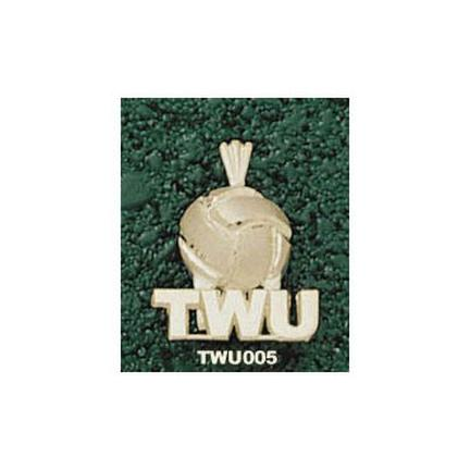 "Texas Woman's University Pioneers ""TWU Volleyball"" Pendant - 10KT Gold Jewelry"