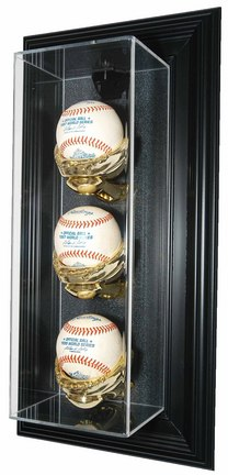 """Three Ball """"Case-Up"""" Wall Mountable Black Display Case"""