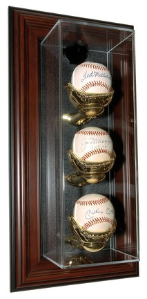 "Three Ball ""Case-Up"" Wall Mountable Mahogany Display Case"