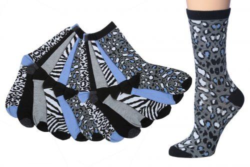 Tipitoe 2285830 Womens Animal Patterned Crew Socks 6 per Pack - Case of 60