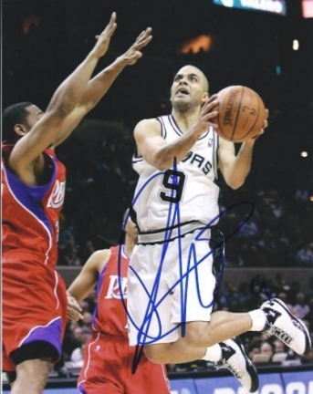 "Tony Parker ""In the Air"" Autographed San Antonio Spurs 8"" x 10"" Photograph (Unframed)"